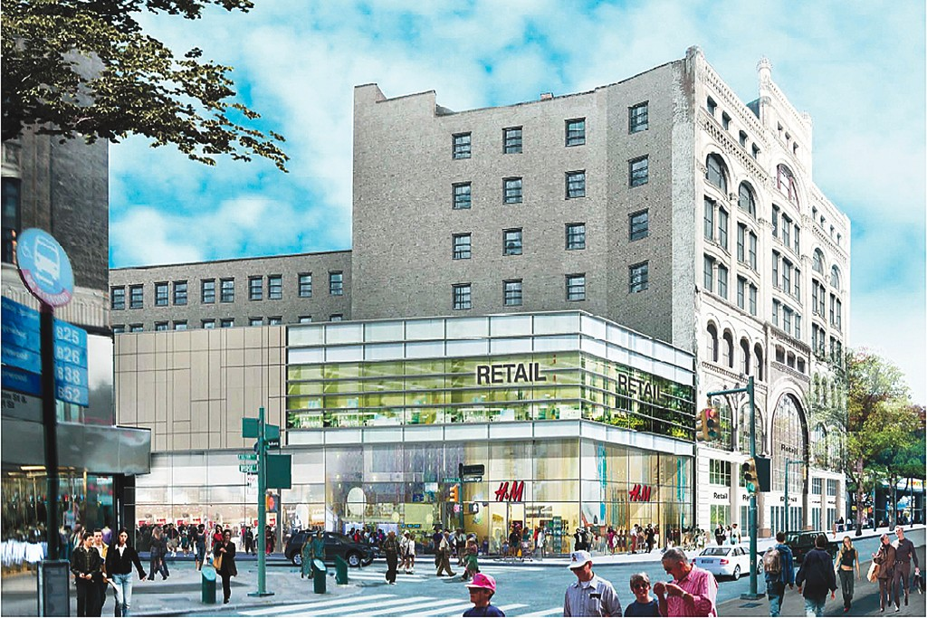A rendering of the new H&M store on Fulton Street in Brooklyn.