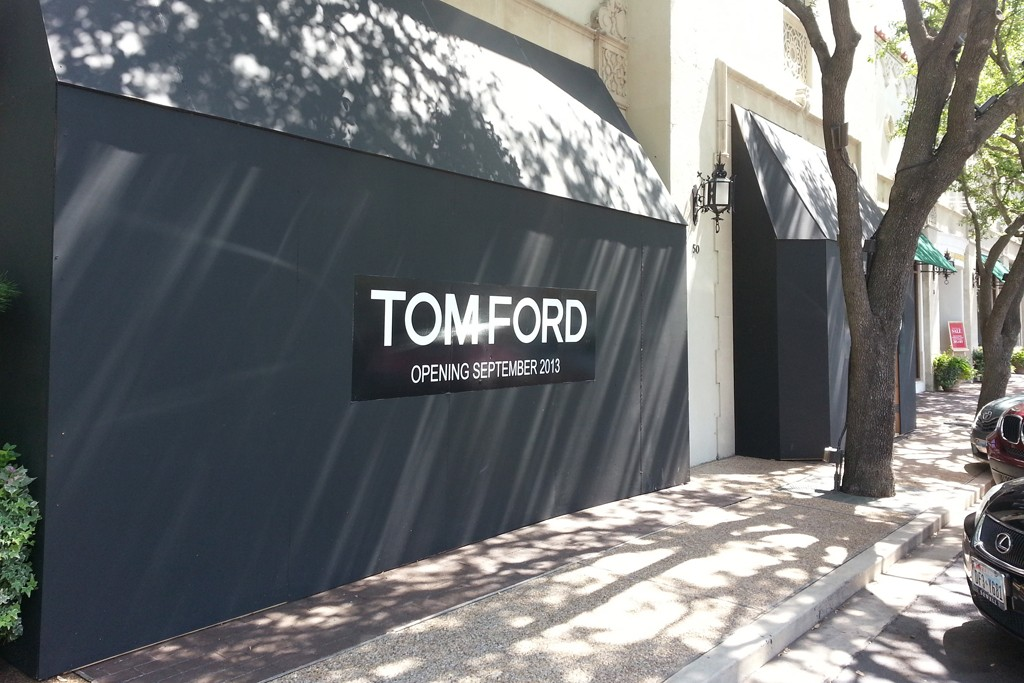 A view of the soon-to-open Tom Ford store at Highland Park Village in Dallas.