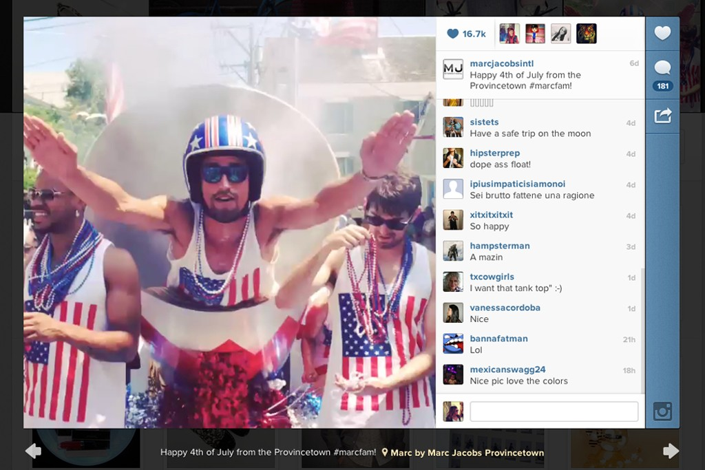 A Marc Jacobs video on Instagram from July 4.