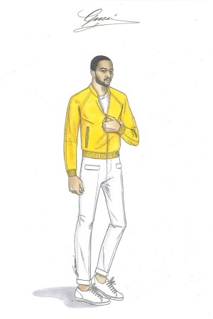 A sketch of a suit designed by Gucci creative director Frida Giannini for John Legend.