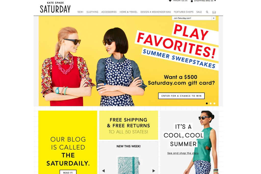 The Kate Spade Saturday website