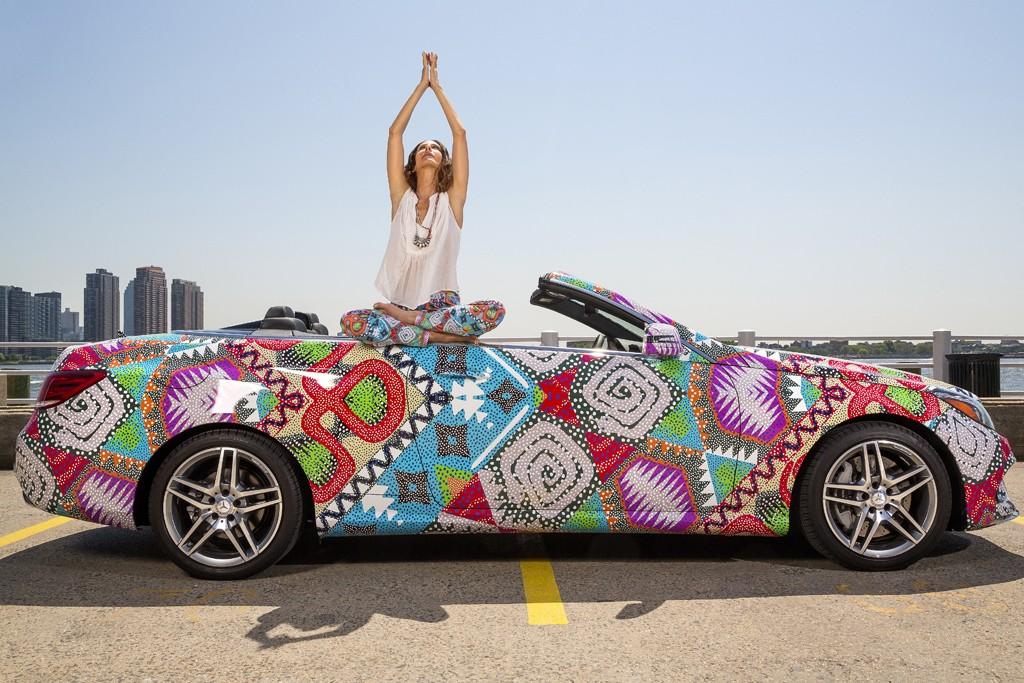 Mara Hoffman poses with the custom-print 2014 E-Class Cabriolet.