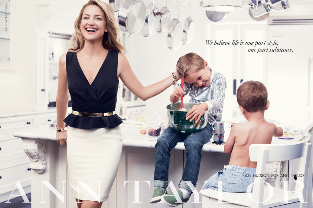 Kate Hudson with her nephews in Ann Taylor's fall ad campaign.