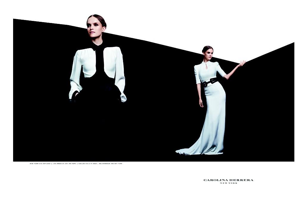 Mirte Maas in a fall ad for Carolina Herrera.
