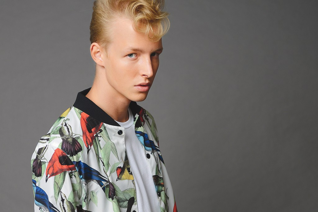 Iuter bomber with tropical bird pattern.