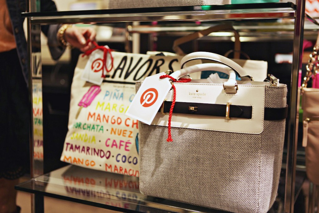 Handbags at Nordstrom with Pinterest tags.