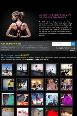The Heidi Klum for New Balance landing page, featuring user-generated content.
