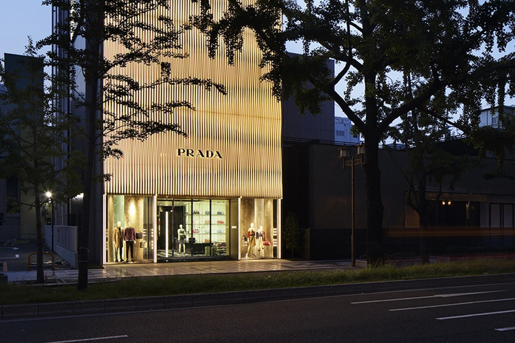 An exterior view of the Prada store in Osaka.