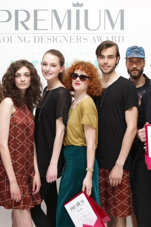 Premium Young Designer Award winners Franziska Michael, Kira Lillie, and Andrea Buglione