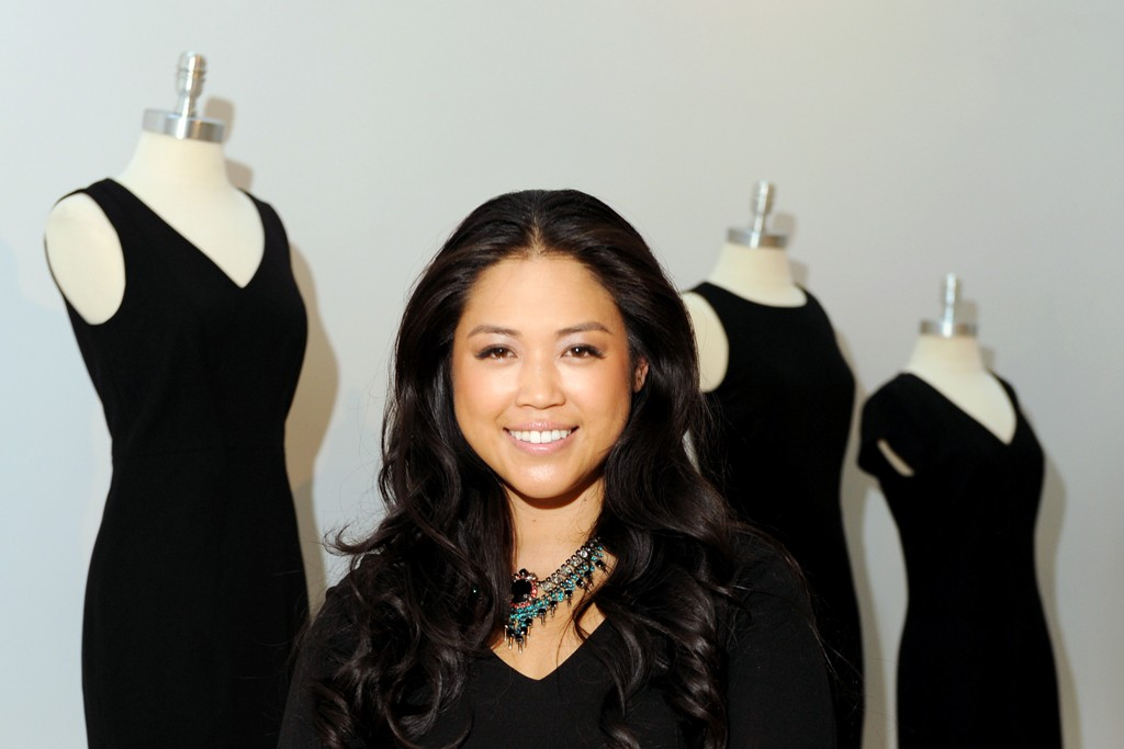 Lisa Sun and some of her Project Gravitas dresses.