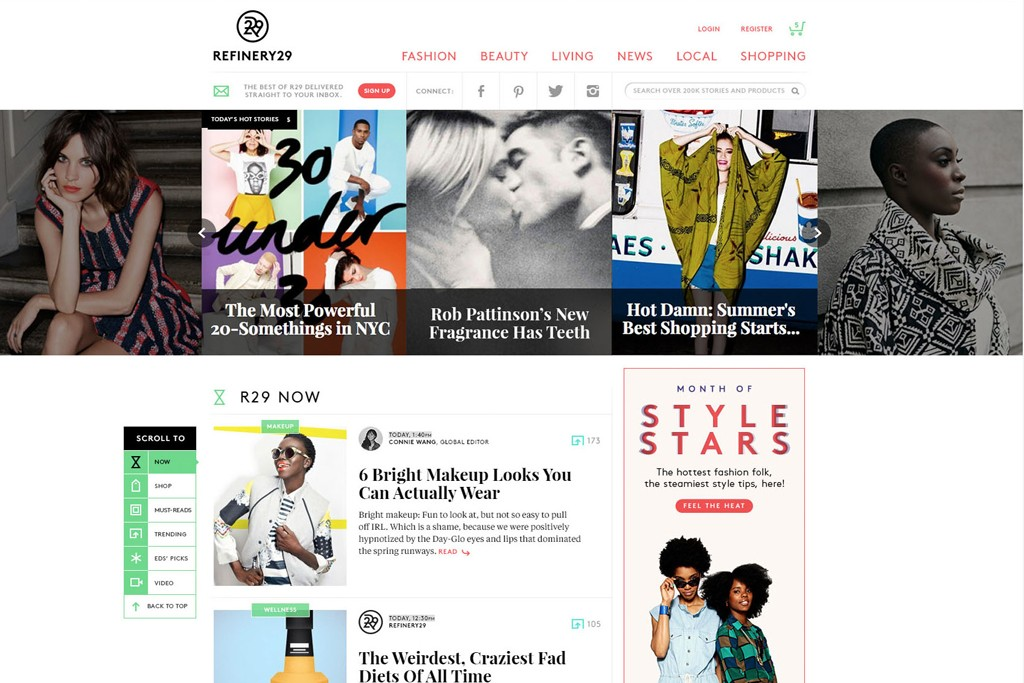 A mockup of Refinery29's new homepage.