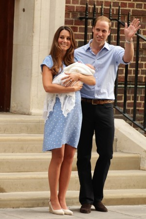 The Duke and Duchess of Cambridge leave St Mary's Hospital in London, with their newborn son.