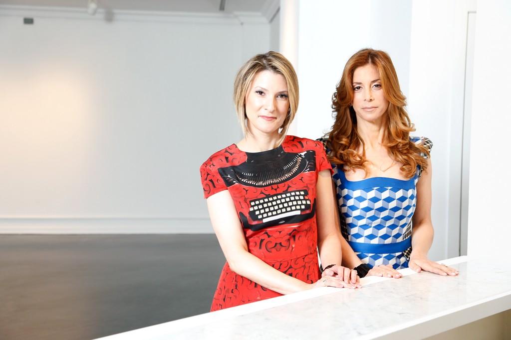 Lizzie Tisch in Mary Katrantzou and Kim Kassel in Antonio Berardi.