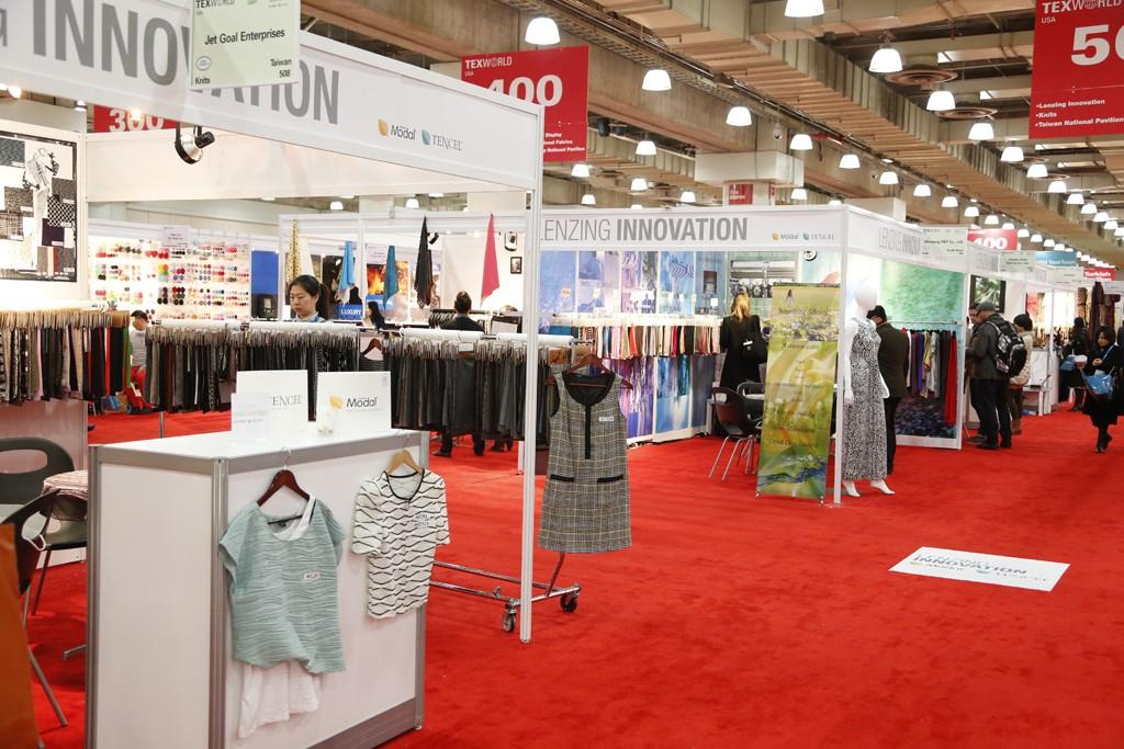 Checking out the fabrics at Texworld USA.