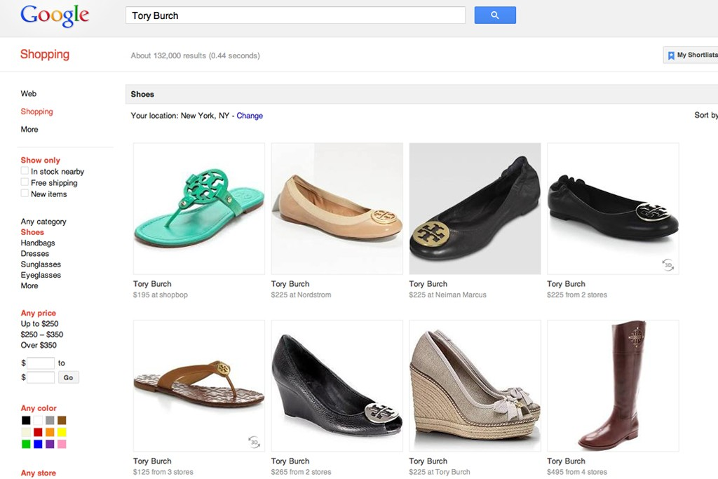 A search on Google for Tory Burch.