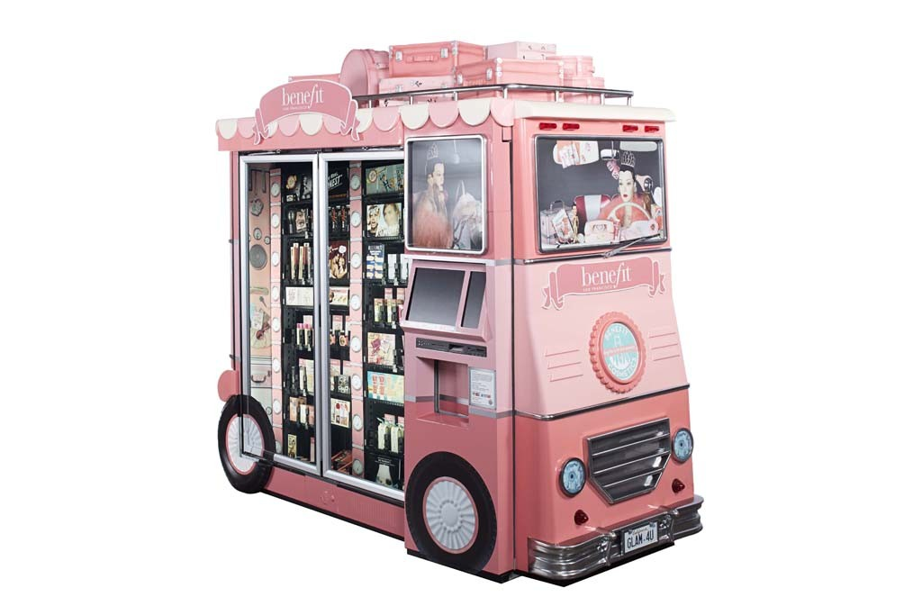 Benefit's Glam Up and Away airport kiosk.
