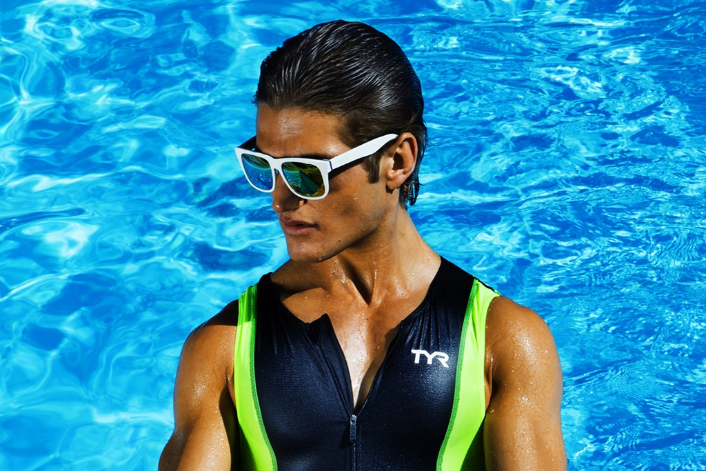 Neff's sunglasses. Tyr nylon and spandex trisuit.