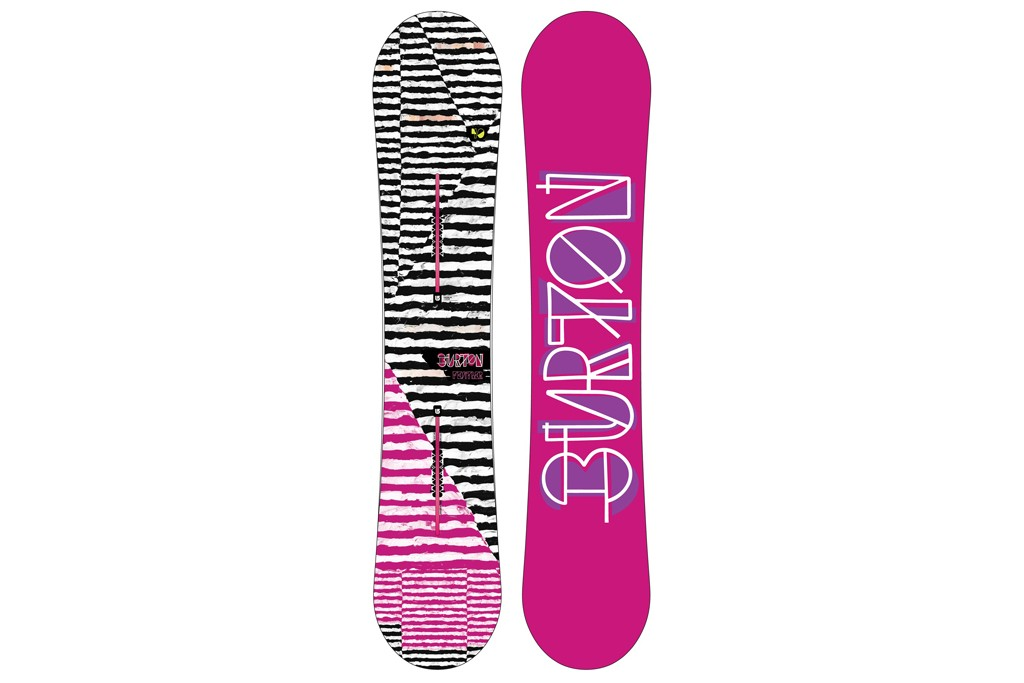 The front and back of a Burton snowboard.