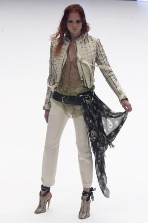 A look from Alexander McQueen's spring/summer 2003 show featuring a silk scarf.