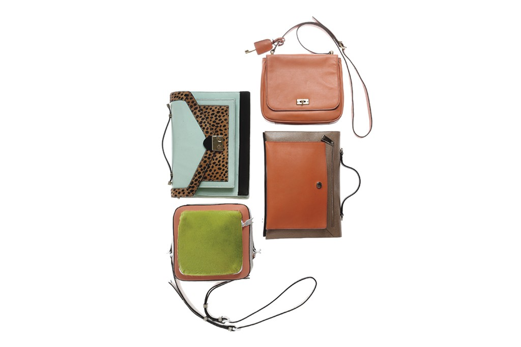 Clockwise from top left: Loeffler Randall's calf hair and napa leather bag; Fossil's leather cross-body bag; Furla's leather bag; Meredith Wendell's leather and calf hair bag with patent leather trim.