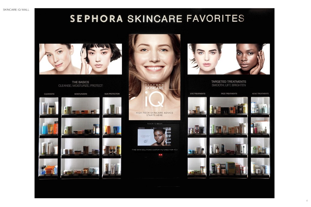 A wall-mounted interactive Skincare IQ system.