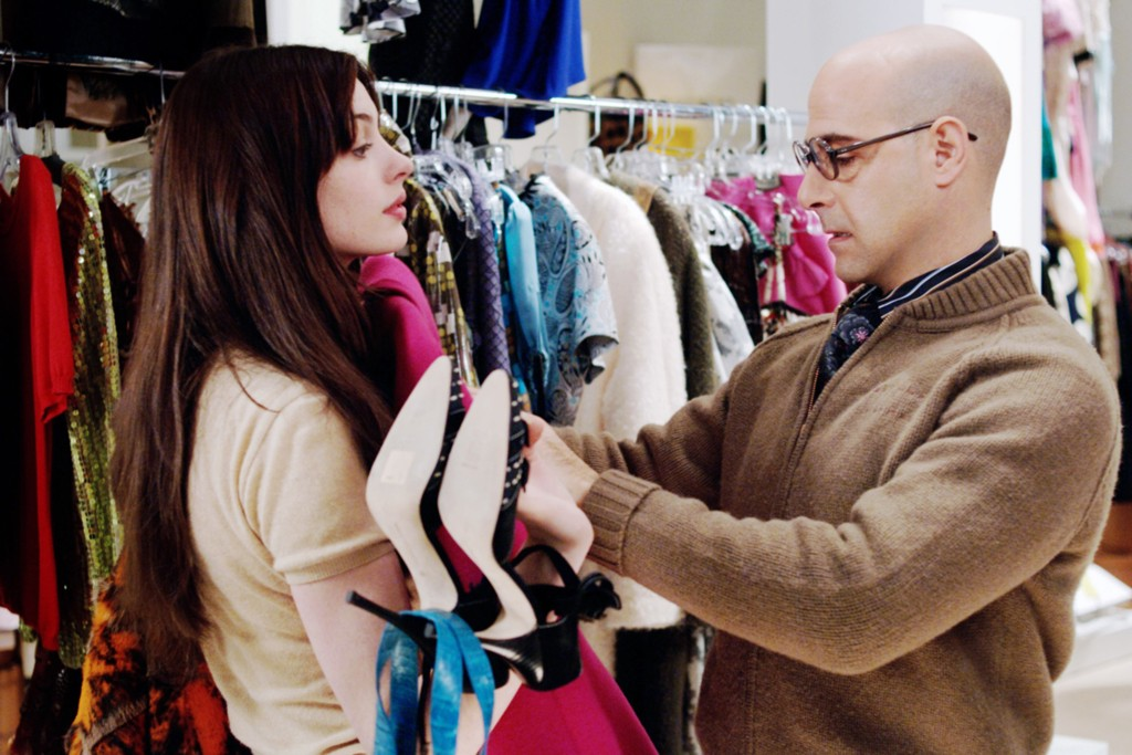 "Anne Hathaway and Stanley Tucci in ""The Devil Wears Prada."""