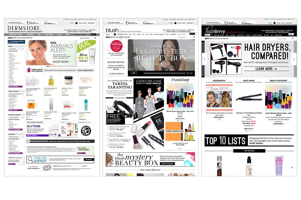 Pages from DermStore.com, Blush.com and HairEnvy.com