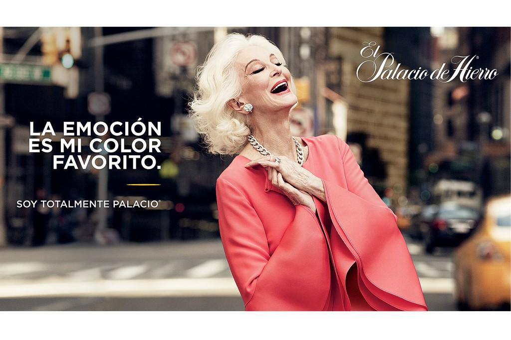 El Palacio de Hierro caused a stir when the octogenarian Carmen Dell'Orefice appeared in the ads.