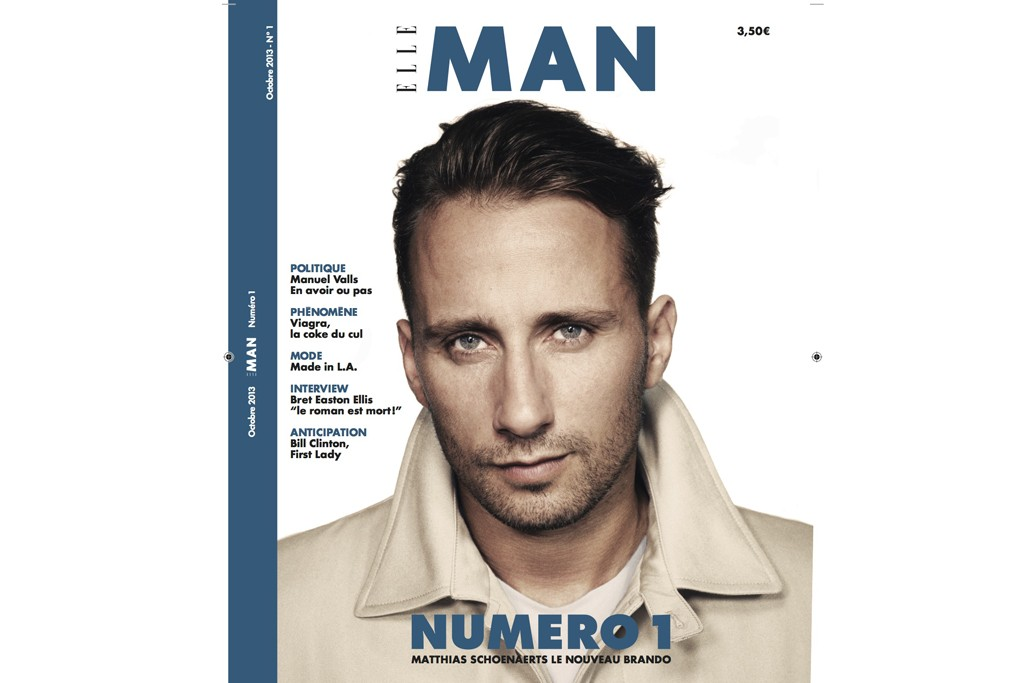 Matthias Schoenaerts fronting the cover of the first issue of Elle Man.