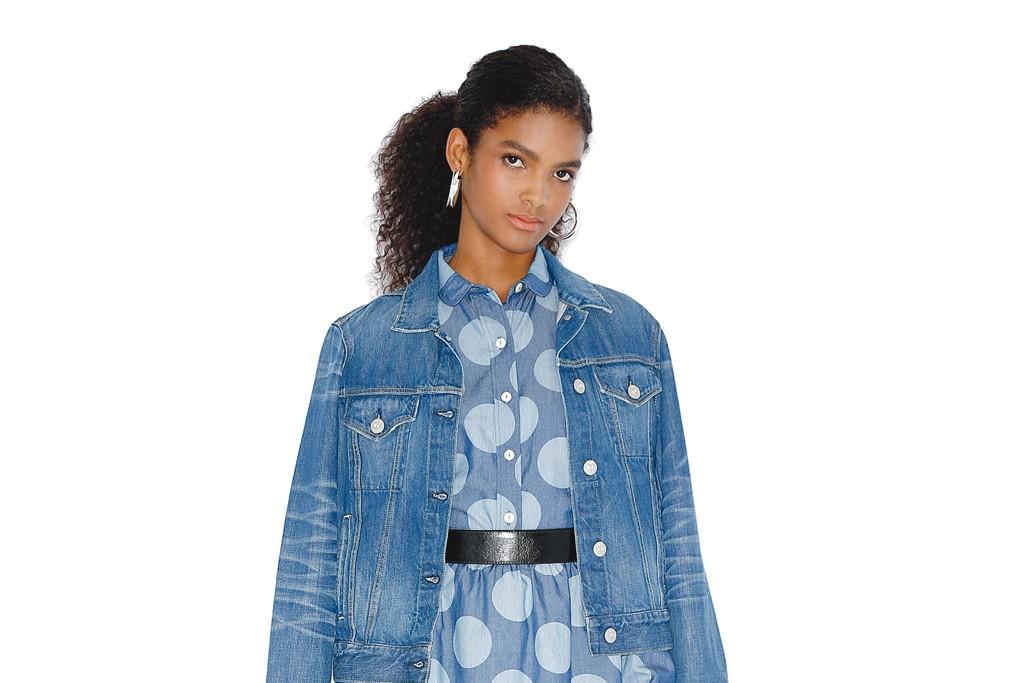 3x1's cotton denim jacket, cotton blouse and skirt. Simon Sebagg earrings, B-Low the Belt belt; Boutique 9 shoes.
