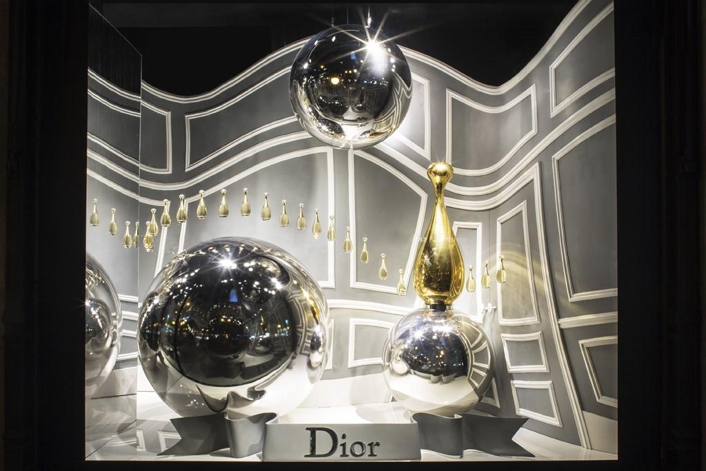 A Dior window display at Saks Fifth Avenue.
