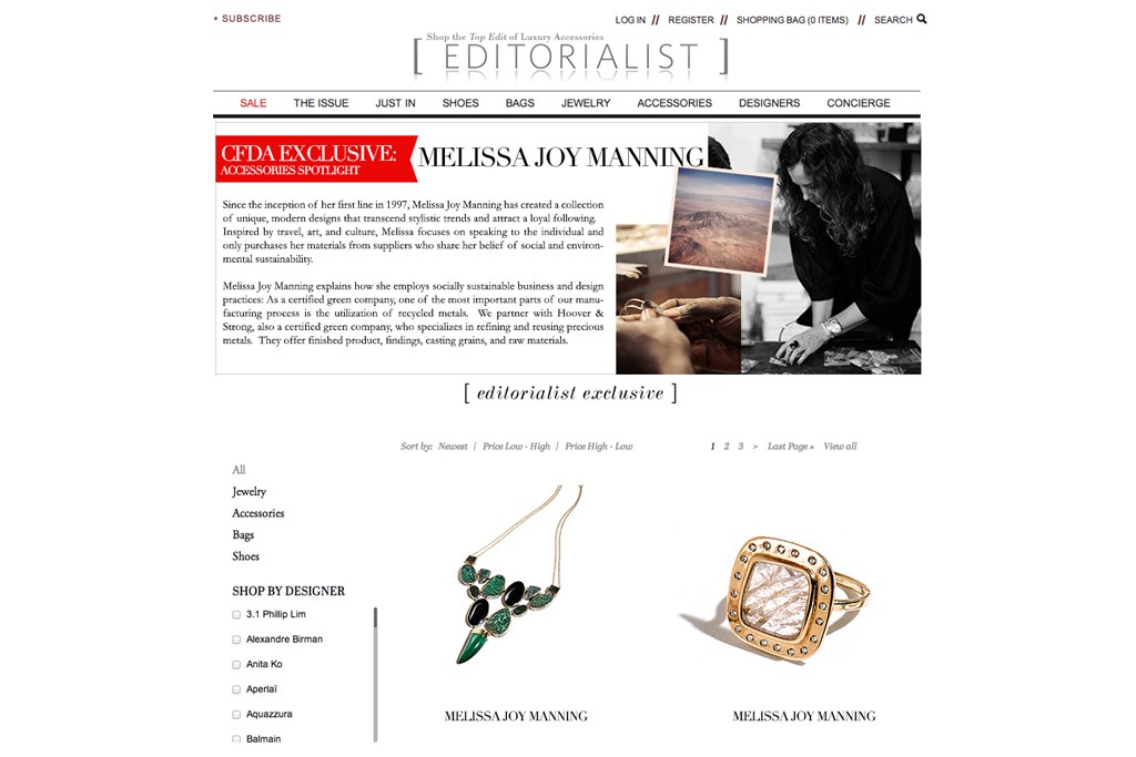 A screenshot of the new CFDA Accessories Spotlight on Editorialist.com.