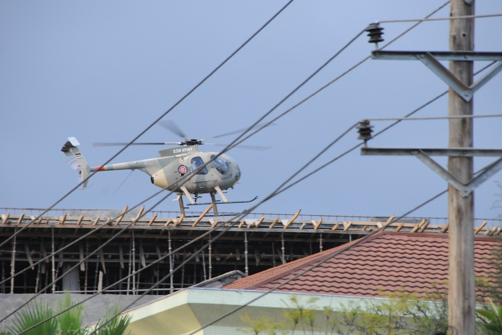 A helicopter near Westgate Mall in Nairobi