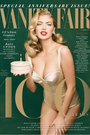 The cover of Vanity Fair's October 2013 issue, featuring Kate Upton, photographed by Annie Leibovitz.