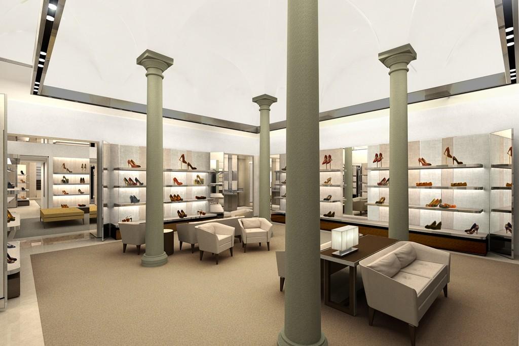 A rendering of the Salvatore Ferragamo boutique in Milan.
