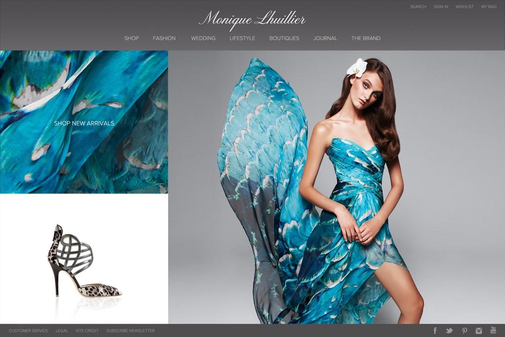 Monique Lhuillier's redesigned web site will feature e-commerce.
