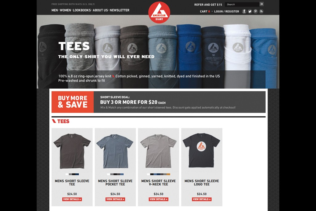 American Giant's Web site.