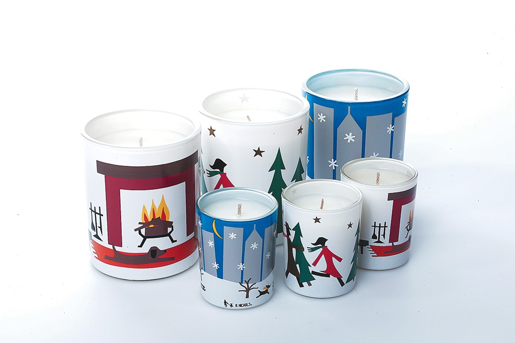 The R. Nichols Candles holiday line.
