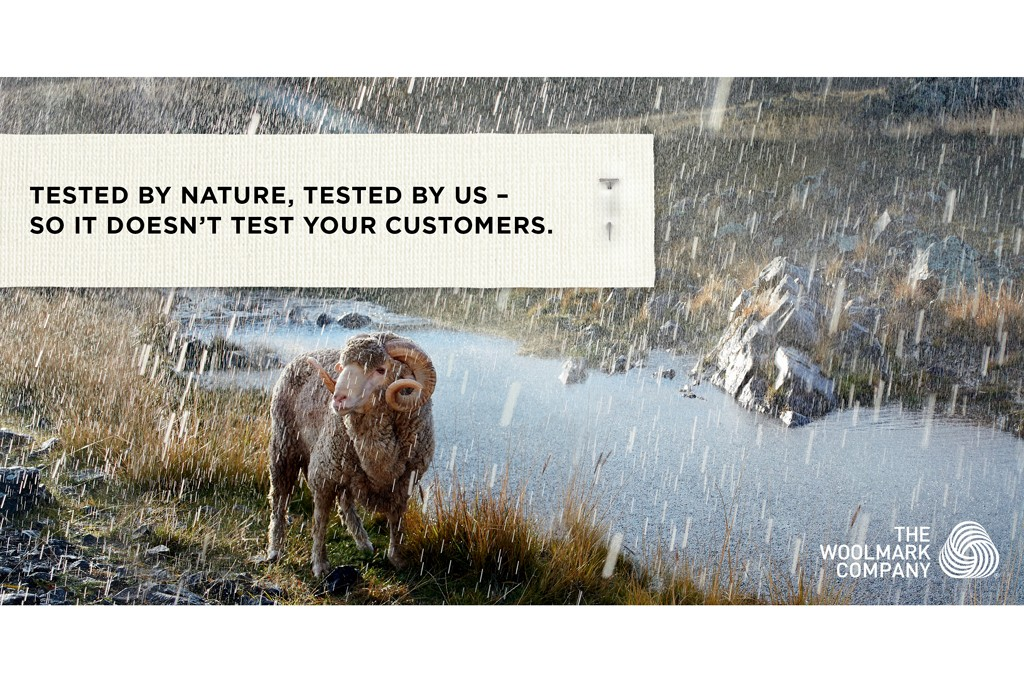"An ad from Woolmark Co.'s campaign ""Tested by Nature, Tested by Us."""