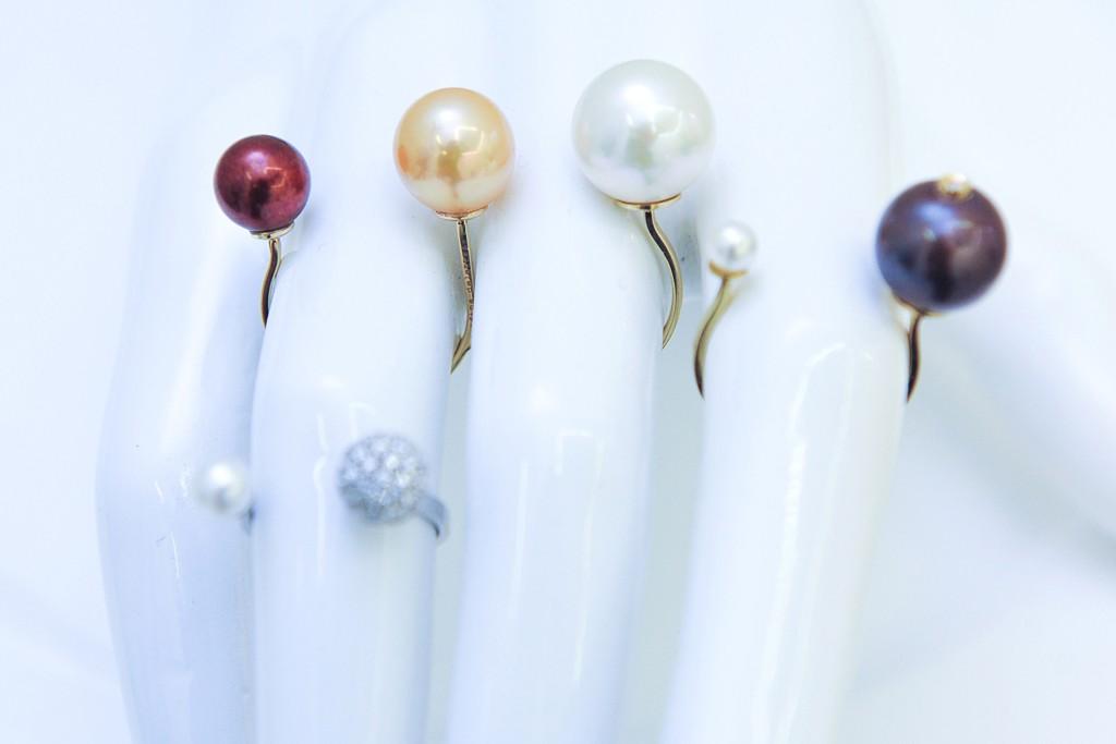Delfina Delettrez's pearl-set ring with invisible setting.