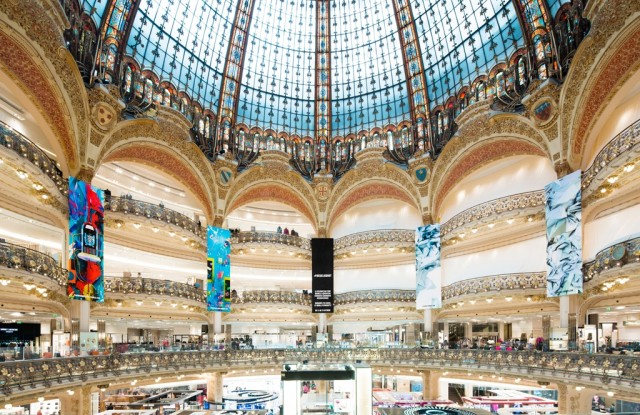 The historic cupola at the Galeries Lafayette in Paris.