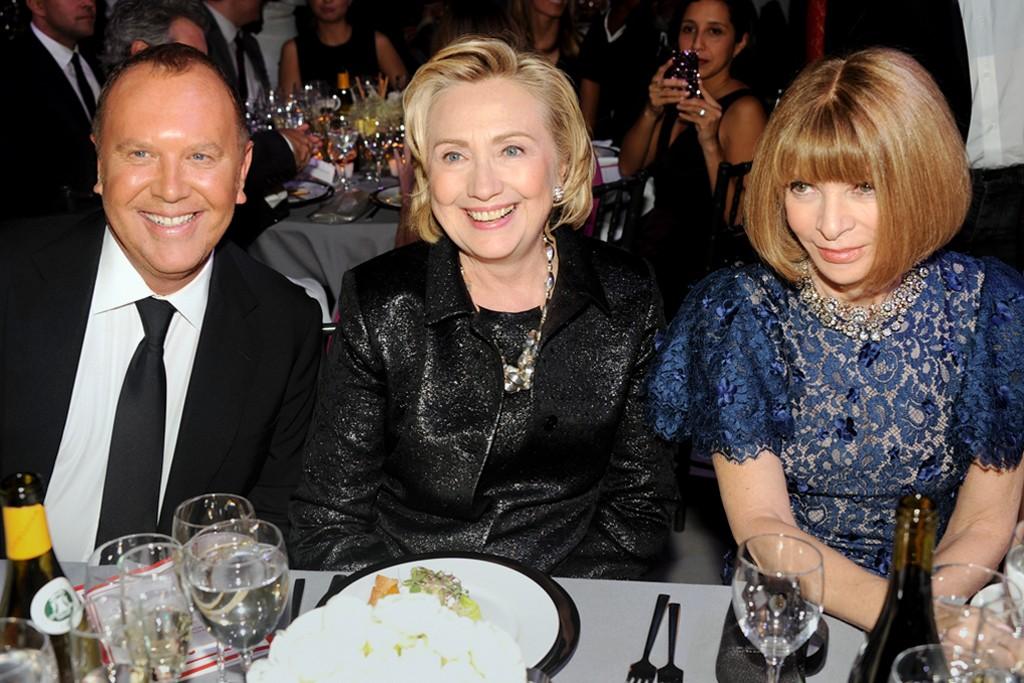 Michael Kors, Hillary Rodham Clinton and Anna Wintour.