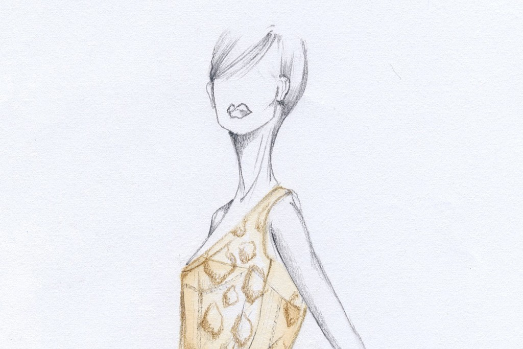Sketches of Salvatore Ferragamo gowns designed exclusively for the Beverly Hills runway presentation.