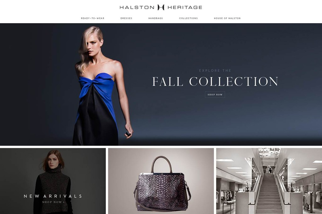 Halston's e-commerce site will feature the Halston Heritage line.
