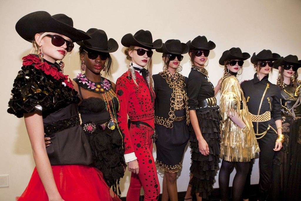 Models in vintage Moschino looks from the past 30 years.