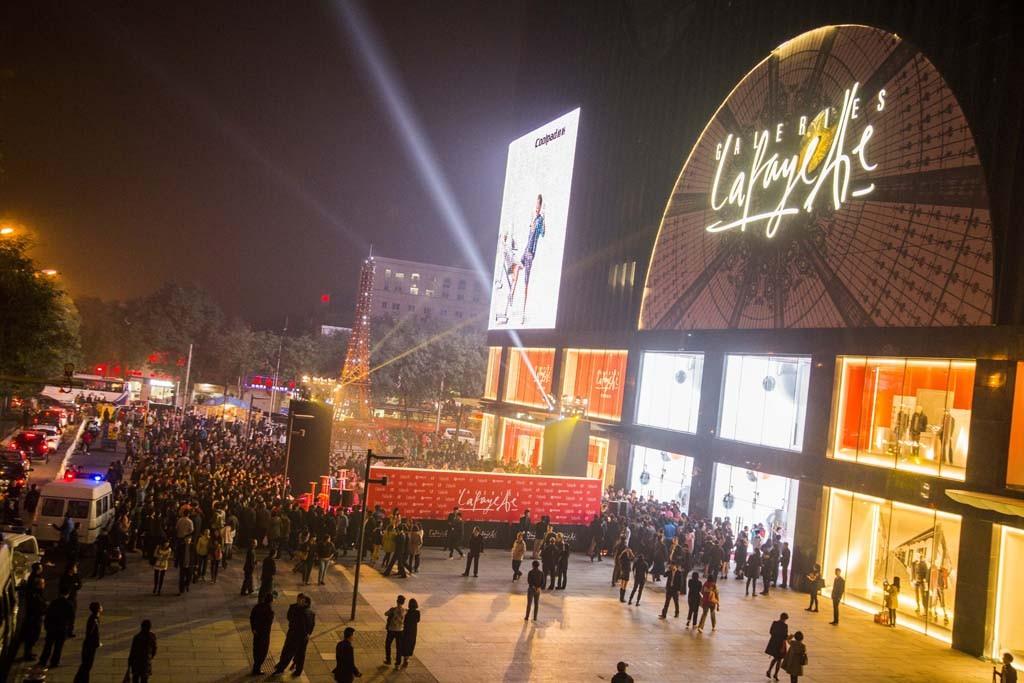 The scene outside Galeries Lafayette in Beijing.