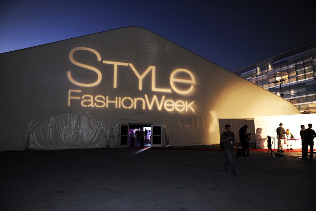 The Style Fashion Week tent at the L.A. Live complex.