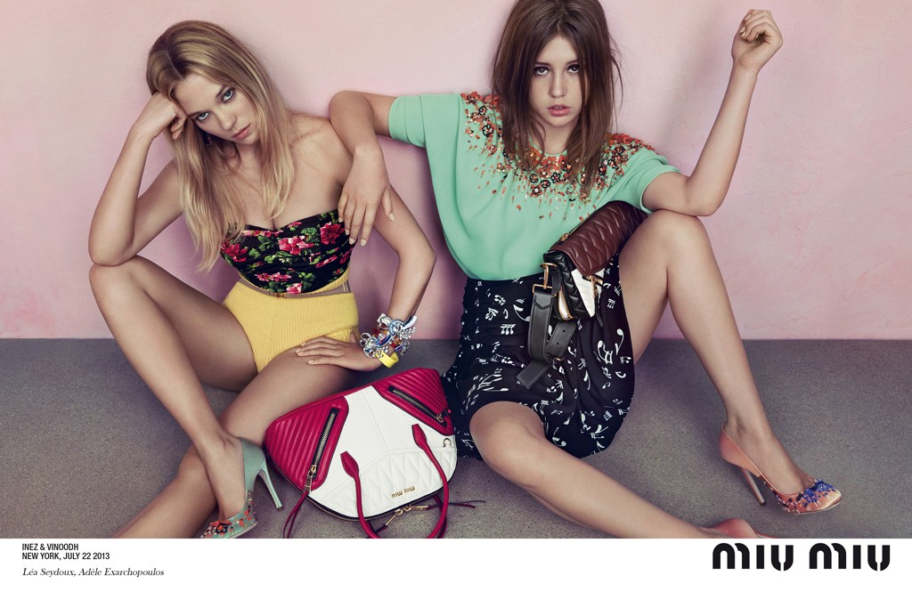 Léa Seydoux and Adèle Exarchopoulos in Miu Miu's resort 2014 ad campaign, photographed by Inez van Lamsweerde and Vinoodh Matadin.
