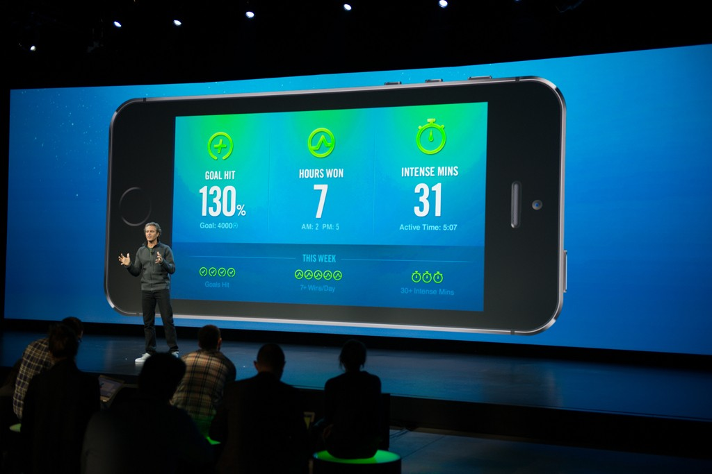 Stefan Olander giving a demonstration of the updated Nike+ FuelBand App.