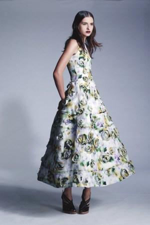 John Rocha's silk dress bedecked in sculptural 3-D rosettes.